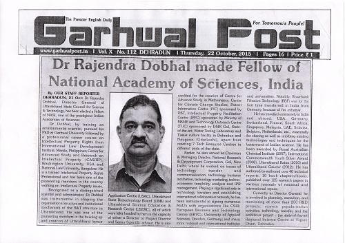 Dr Rajendra Dobhal conferred National Academy of Sciences, India (NASI) Fellow